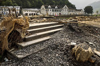 Destroyed infrastructure on redwine road, flood disaster 2021, Ahr Valley, Dernau, Germany, Europe