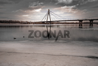 The Pivnichnyi bridge, in Kiev, Ukraine, during winter