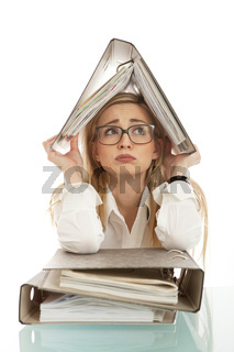business woman with folder on desk workin isolated on white background