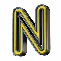 Yellow black outlined font Letter N 3D