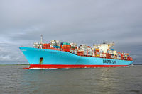 Container ship Eugen Maersk on the North Sea