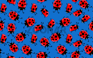 Fashion animal seamless pattern with colorful ladybird on color background. Cute holiday illustration with ladybags for baby. Design for invitation, poster, card, fabric, textile