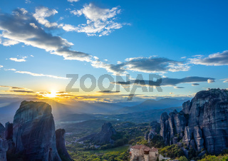 Sunset over Kalambaka and the Greek Rocky Monastery