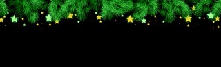 Christmas tree on dark background, web template for holiday promotional items - Vector