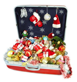 big suitcase with gifts for Christmas