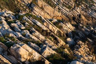 Beautiful schist cliff details in Baleal island at sunset in Peniche, Portugal