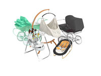3D rendering concept set for sleeping baby stroller green and black hanging bed on white background no shadow