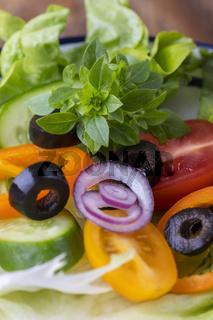 frischer Salats mit Basilikum