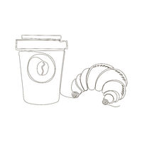 One Continuous Line Drawing. Fast Food Doodle. Modern Minimalistic Style. Sweet Croissant Icon and Cup of Coffee.
