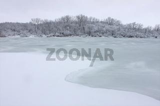 Fresh Snowfall over Lake