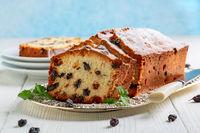 Homemade fruit cake with raisins.