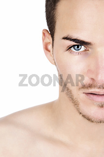 Portrait of a sportive young man isolated on white half face
