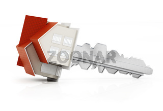 House model connected to the metal key. 3D illustration