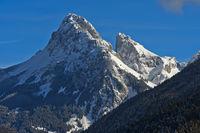 Summits Dent d'Oche, left, and Château d'Oche in winter, Bernex, Chablais, Haute-Savoie, France