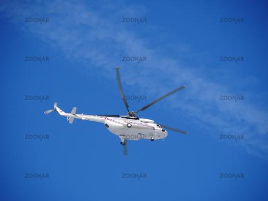 Russian helicopter Mi-8MTV flies