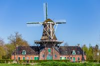 Old traditional windmill in Groningen The Netherlands