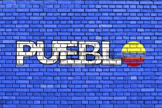 flag of Pueblo, Colorado painted on brick wall