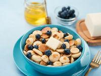 Pancake cereal, copy space, close up