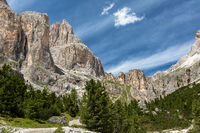 Hiking path through Vajolet valley to Vajolet towers, Catinaccio group, Trentino, Italy