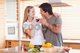 Lovely couple drinking wine