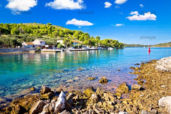 Katina island narrow sea passage in Kornati islands national park pure nature view