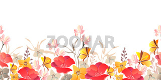 Vector floral seamless border. Red, yellow flowers.