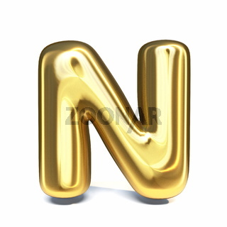Golden font Letter N 3D