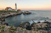 Portland Head Light in morning light, Cape Elizabeth, Portland, Maine, New England, USA