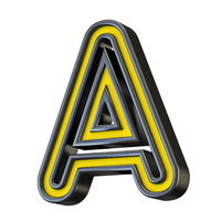 Yellow black outlined font Letter A 3D