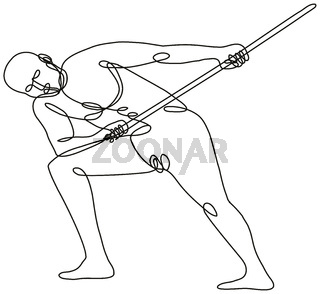 Nude Male Human Figure Pulling Tugging a Rope Viewed from Front Continuous Line Drawing
