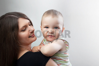 mother and child on white