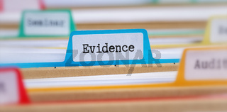 File folders with a tab labeled Evidence