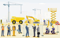 Construction site with excavator, handyman and architect illustration