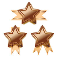 Set of bright bronze awards in star shape with beige tape, glossy winner badges on white