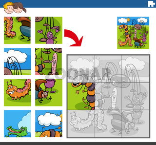 jigsaw puzzle game with funny insects animal characters