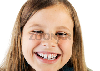 closeup portrait of smiling girl