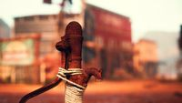 old rusted water pump in Wild West town