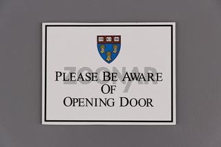 A sign at Harvard Law School in Cambridge