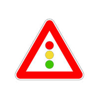 Traffic light icon on the triangle red and white road sign on white