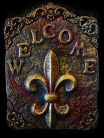 A Welcome sign with the Fleur de Lis, the traditional symbol of New Orleans
