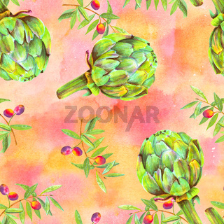 A seamless watercolor pattern of vibrant olive tree branches with olives and artichokes
