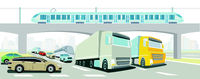 Motorway bridge with express train, truck, bus and passenger car
