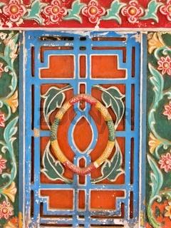 Closeup painted patterned, wood , Thanjavur palace,Tamil Nadu, S India
