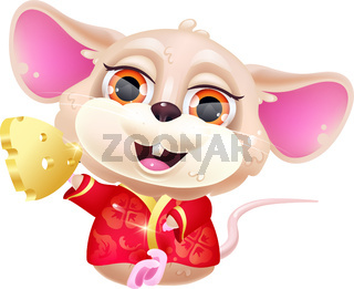 Cute sitting mouse kawaii cartoon vector character. Adorable, funny animal in national red costume and piece of gold isolated sticker, patch. Chinese New Year. Anime baby rat emoji on white background
