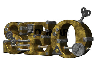 die buchstaben seo in industrial-look - 3d illustration