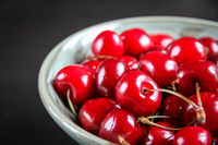 Fresh cherries in a bowl
