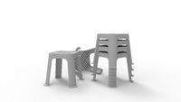 3D rendering of a couple of stools stacked on top of each other.