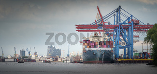 A container ship at the terminal in reasonably good weather in Hamburg