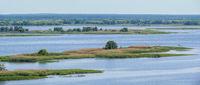 Dnipro river summer panoramic landscape, Kaniv water Reservoir, Kyiv Region, Ukraine.