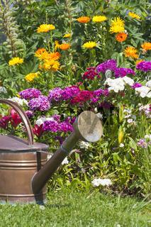 Gießkanne steht vor einem Blumenbeet